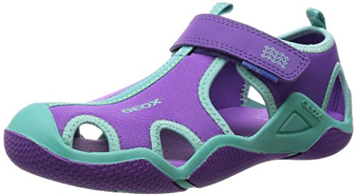 Geox J Wader Girl A, Baskets Basses fille Violet - Violett (PURPLE/TURQUOISEC8123)