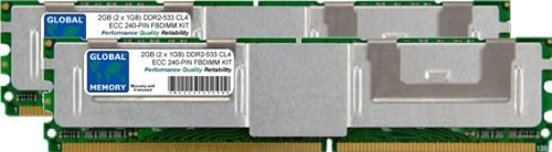GLOBAL MEMORY 2GB (2x 1GB) DDR2533MHz PC2-4200240-PIN ECC Fully BUFFERED DIMM (FBDIMM) Arbeitsspeicher Kit für Servers/WORKSTATIONS/MAINBOARDS (4RANK KIT) - 533 Mhz-pc2