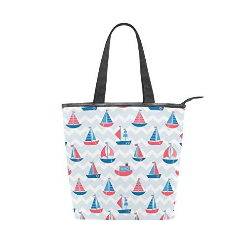 Boot-top-handtasche (Jeansame Canvas Bag Tote Bag Einkaufstasche Top Handle Bag Schultertasche Handtasche Boot Ocean Sea Streifen Blau)