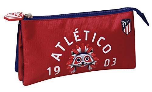 ALMACENESADAN 2387; portatodo Triple Atletico de Madrid; Producto Oficial; Dimensiones 22x11x3 cm