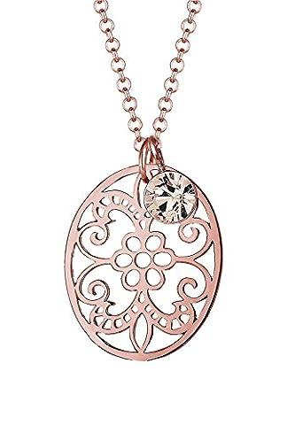 Elli Damen-Kette mit Anhänger Ornament 925 Silber Swarovski Kristall Rundschliff 45 cm - 0110642215_45