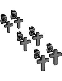 eb1540eea193 Flongo Pendientes de cruz aretes de acero inoxidable