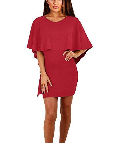 Damen Rundhals Sommer Kleid Strandkleid Mini Kleid Tunikakleid Blusen Burgunderrot