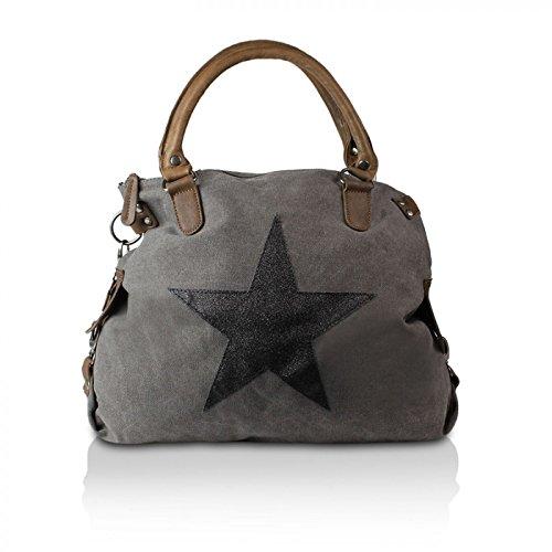 Gloop Top Fashion Sterne Handtasche Schultasche Canvas KunstLeder Trend Tragetasche TS201701 23175 Grau