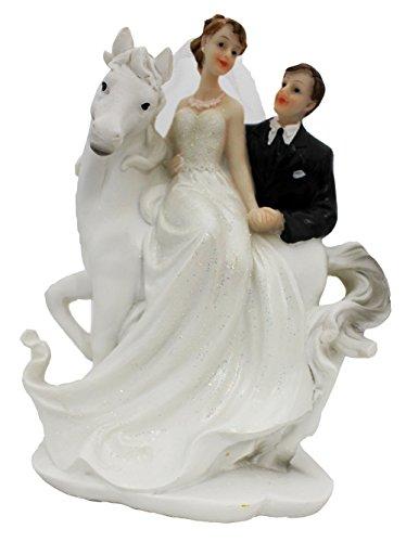 Cepewa Tortenaufsatz Figur Brautpaar mit Pferd (Brautpaar 2) (Figur Glas Trägt)