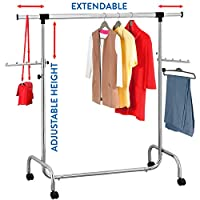 Tatkraft Falcon Adjustable Heavy Duty Clothes Rail | Rolling garment | Extendable Length 3.5-5.7 Ft and Height 4.5-6.1 Ft | Easy installation | Chromed Steel