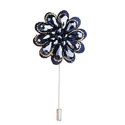 Broche Pin a Smoking Fleur a la Boutonniere Revers Epingle a Chapeau Bleu Marine + Or