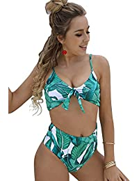 ec70a2c65eee8 Blooming Jelly Womens High Waisted Bikinis Set Push Up Padded Tie Knotted  Swimsuit Flattering Swimming Costume