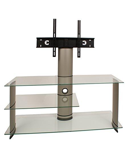 VCM TV Rack Lowboard Konsole Fernsehtisch LCD LED Möbel Glastisch Tisch Schrank Aluminium Silber / Klarglas