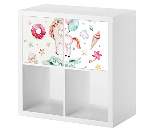 Möbelaufkleber für Ikea KALLAX / 2x Türelemente Pony Kinderzimmer Pegasus rosa Blumen Kat2 Mädchen Eis KL2 Aufkleber Möbelfolie Tür sticker (Ohne Möbel) 25E2734 -