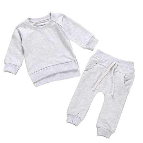 BURFLY Mode Babykleidung, Kleinkind Kinder Baby Jungen Mädchen Rundhalsausschnitt Solide Tops Hosen Homewear Casual Outfits Sets