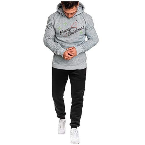 2 Pezzi Felpa Original da Uomo con Cappuccio Cotone con Zip Pullover Collo Alto Felpe Manica Lunga Cotone Autunnali Top Sweatshirt Sportiva Casuale Streetwear Pantaloni Tuta Uomo Vovotrade