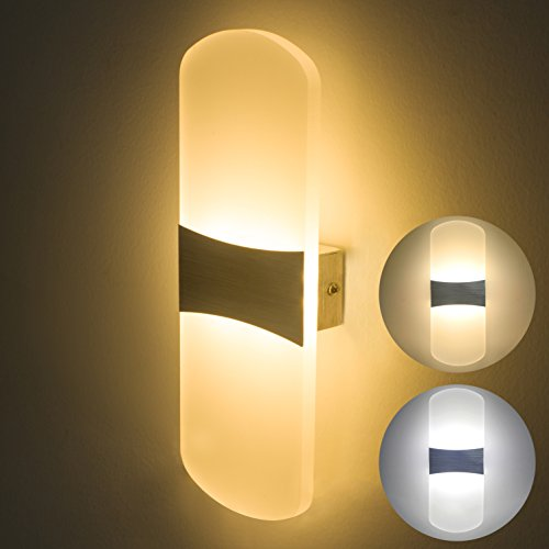 Lámpara de Pared Interior LED 6W Moderno Aplique Decoración de diseño iluminación de pared acrílica Regulable Luz nocturna 3 Temperatura de color en 1 (Blanco cálido, Blanco suave o Blanco frío)