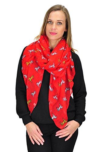 Multicolore imprimé cheval écharpe châle foulard d'hiver doux des femmes Rouge