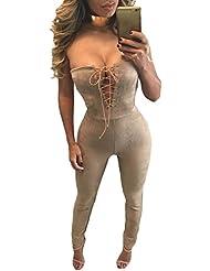 Nuevo color beige de la mujer Faux Suede Lace Up sin tirantes Mono Catsuit Body Pelele Club Wear Partido Tamaño S UK 8UE 36