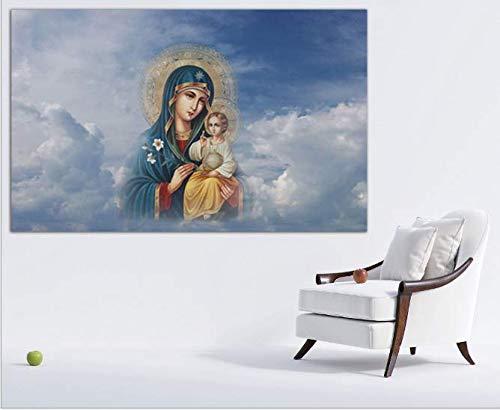 BWHome 5D Bricolaje Dibujo de diamante Punto de cruz La Virgen María sala restaurante Colgar cuadros alta calidad El diamante redondo está lleno de diamantes 50 × 60CM sin marco
