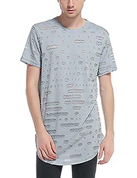 Camiseta De Manga Corta Con Cuello Redondo Para Hombre Camisa Rasgada Casual Gris S