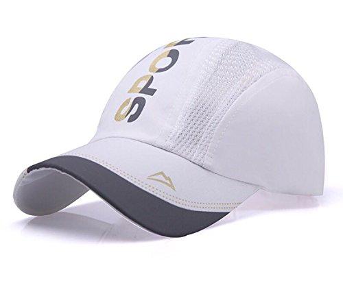 Baseball Caps Sommer-atmungsaktiv Schnelltrocknende Verstellbar Unisex Cap NO-13 (Weiß)