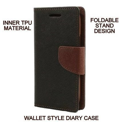 BRAND FUSON Luxury Mercury Diary Wallet Style Flip Cover Case for Lenovo Vibe K4 Note – Black & Brown