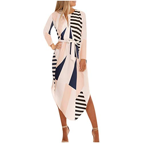 Xuthuly Herbst Kleider Damen Kurzarm V-Ausschnitt Strand Blumenkleider Abendkleid Knielang