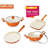 [Sponsored]Nirlon Ceramic Cookware Set, 4-Pieces, Orange (39_42_43_45)