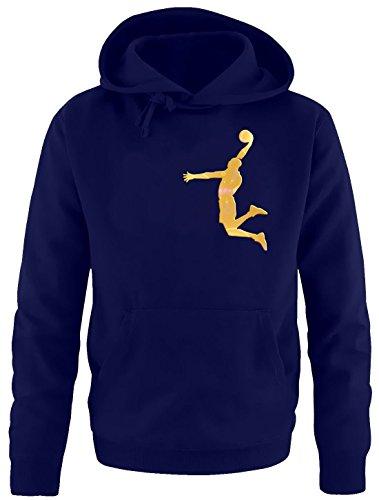 DUNK Basketball Slam Dunkin Kinder Sweatshirt mit Kapuze HOODIE navy-gold, Gr.164cm