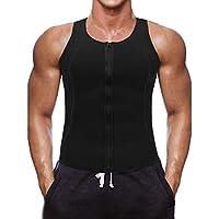 Litthing Chaleco Deportivo para Hombres Faja Reductora Sauna Camiseta Adelgazante Térmica Compresión Muscular Vest para Quemar Grasa Sudoración Gimnasio con Cremallera(Negro, M)