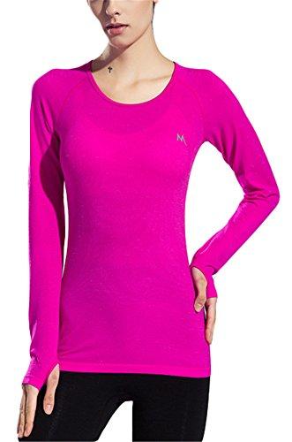 GoodNight Reine Farbe Activewear Yoga Langarm Shirt für Frauen (Activewear-jacke Farbe)