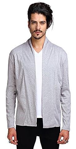 Whatlees Unisex Hip Hop Urban Basic Long Line Basic Cardigan cardigan with contrasting inset shawl lapel B204-Light