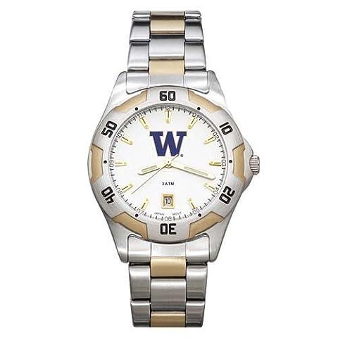 NCAA Washington Huskies Men's All-Pro Two-Tone Watch by Logo Art