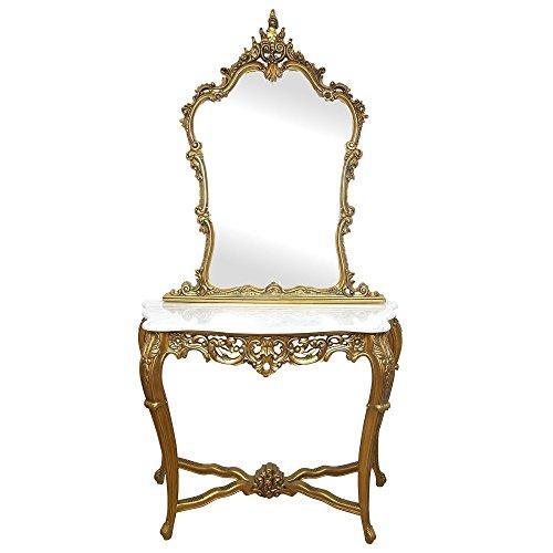 Tocador barroco dorado con sobre de marmol blanco. Edición de lujo.