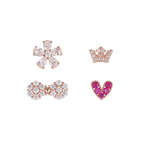 QIYUEQI Ms Ohr Schrauben Mini Heart-Shaped Blumen Krone Bow Tie Ohr Schrauben zu kompakten Ohren verwendet