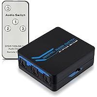 kwmobile Commutateur réseau digital audio - Splitter câble audio optique Toslink SPDIF - Hub 3 entrées 1 sortie - Avec télécommande infrarouge
