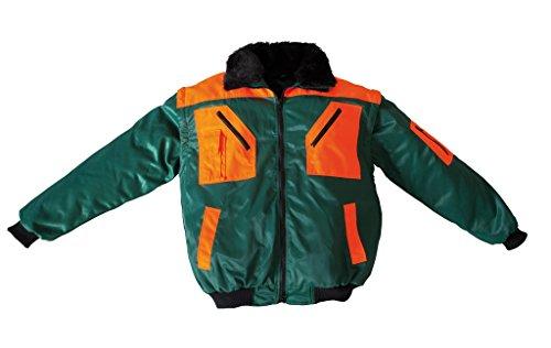 forstjacken Forstjacke Pilotenjacke Pilotjacke auch als Weste Arbeitsjacke grün gefüttert (L 54/56, Grün/Orange)