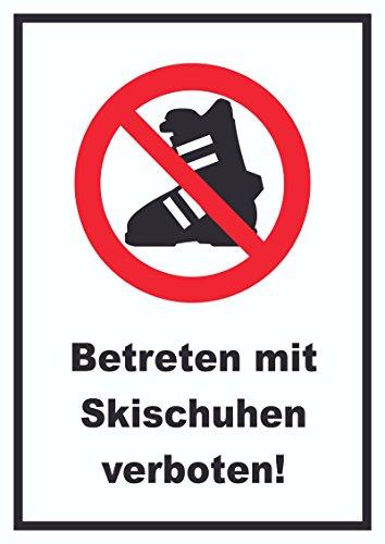 Betreten mit Skischuhen verboten! Schild A4 Rückseite selbstklebend