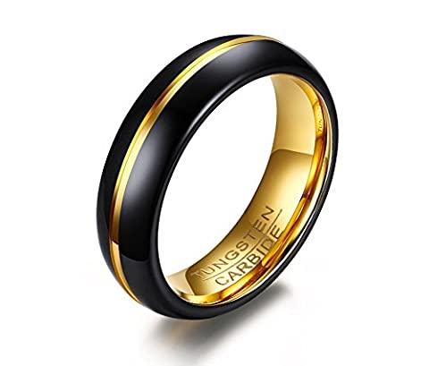 Vnox Men's Black Tungsten Carbide Wedding Band Ring Groove Design 6mm,Gold Inside,UK Size V 1/2