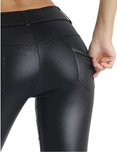 Damen Lederlook Leggings Wetlook mit Taschen Schwarz Schwarz