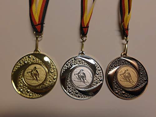 Fanshop Lünen Medaillen Set - Metall 50mm - Ski - Slalom - Gold, Silber, Bronze - Medaillenset - mit Emblem 25mm (Gold,Silber,Bronce) - mit Medaillen-Band - (e219) -