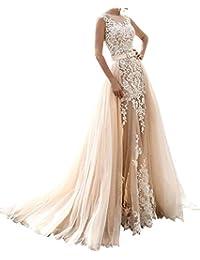 454cd98678a7 Changjie Donna Illusione Scollatura Pizzo Sirena Vestito da Sposa con Il  Treno Staccabile