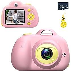 Enfants Appareil Photo numérique 2 Pouces écran 8MP HD Filles Antichoc Appareil Photo numérique avec Couverture Souple en Silicone et 16G Micro SD Card (Rose)