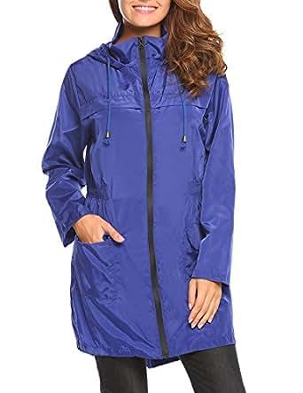 HOTOUCH Femme Manteau Imperméable Coupe Vent à Capuche Manches Longues Veste de Pluie Bleu S