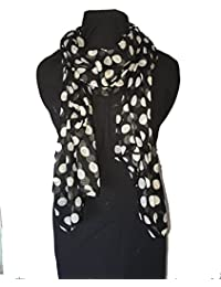 Pamper Yourself Now Black With White Big Spot Scarf/Wrap