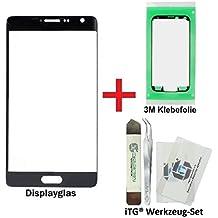 iTG® PREMIUM Juego de reparación de cristal de pantalla para Samsung Galaxy Note EDGE Negro (Charcoal Black) - Panel táctil frontal oleofóbico para SM-N915FY + 3M Adhesivo precortado y iTG® Juego de herramientas