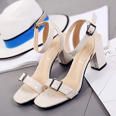 LvYuan Da donna Sandali Comoda Vernice Estate Footing Comoda Fibbia Heel di blocco Beige Grigio scuro Meno di 2,5 cm beige
