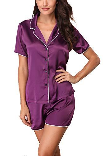 Giorzio Damen Satin Schlafanzüge Sommer Nachtwäsche Kurz Pyjama Set Zweiteiliger V-Ausschnitt Schlafoveralls (Violett,M)