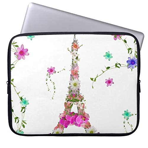 qidushop Girly Floral French Eiffel Tower Bright Flowers Laptop Case for 11.6 12 Inch Samsung Ultrabook ASUS Fujitsu Lenovo HP Sony Powerbook