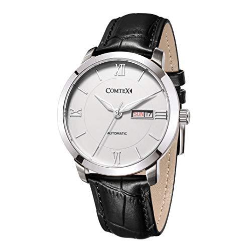 Comtex Herren Armbanduhr Analog Automatik mit Schwarz Leder Armband S6361 Tag Datum