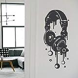 Headphones Music Vinyl Plane Wall Sticker Art Home Decor For Teens Room Cut Decals Removable Murals Kids Bedroom Decoration 3209