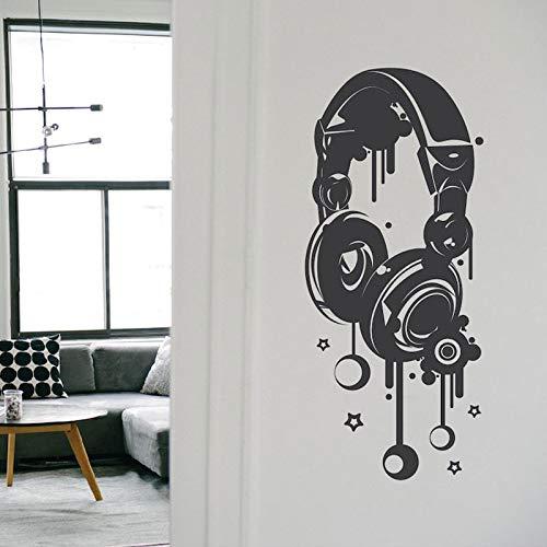 WWYJN Headphones Music Vinyl Plane Wall Sticker Art Home Decor for Teens Room Cut Decals Removable Murals Kids Bedroom Decoration57x132cm