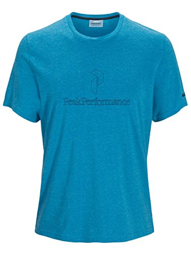 Herren Skiunterwäsche Peak Performance Black Light Logo Tech Tee Mosaic Blue